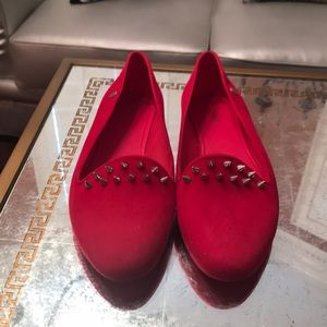Shoes - Melissa hot pink spiked slip ons